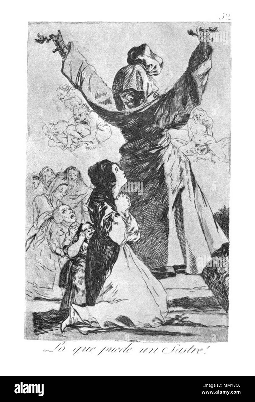 . Los Caprichos is a set of 80 aquatint prints created by Francisco Goya for release in 1799.  . 1799.   Francisco Goya (1746–1828)   Alternative names Francisco Goya Lucientes, Francisco de Goya y Lucientes, Francisco José Goya Lucientes  Description Spanish painter, printmaker, lithographer, engraver and etcher  Date of birth/death 30 March 1746 16 April 1828  Location of birth/death Fuendetodos Bordeaux  Work location Madrid, Zaragoza, Bordeaux  Authority control  : Q5432 VIAF:?54343141 ISNI:?0000 0001 2280 1608 ULAN:?500118936 LCCN:?n79003363 NLA:?36545788 WorldCat Goya - Caprichos (52 - Stock Image