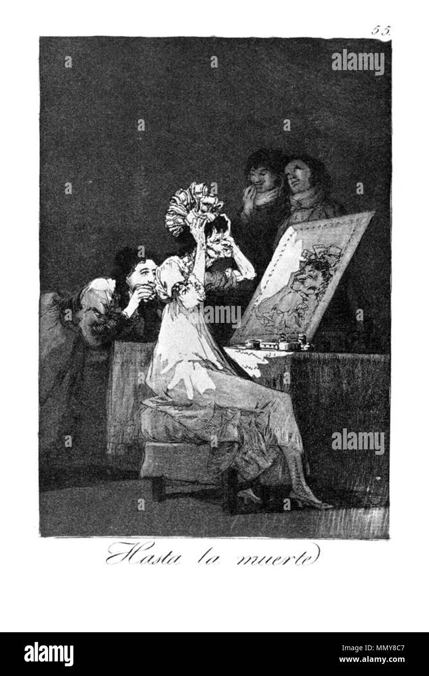 . Los Caprichos is a set of 80 aquatint prints created by Francisco Goya for release in 1799.  . 1799.   Francisco Goya (1746–1828)   Alternative names Francisco Goya Lucientes, Francisco de Goya y Lucientes, Francisco José Goya Lucientes  Description Spanish painter, printmaker, lithographer, engraver and etcher  Date of birth/death 30 March 1746 16 April 1828  Location of birth/death Fuendetodos Bordeaux  Work location Madrid, Zaragoza, Bordeaux  Authority control  : Q5432 VIAF:?54343141 ISNI:?0000 0001 2280 1608 ULAN:?500118936 LCCN:?n79003363 NLA:?36545788 WorldCat Goya - Caprichos (55 - Stock Image
