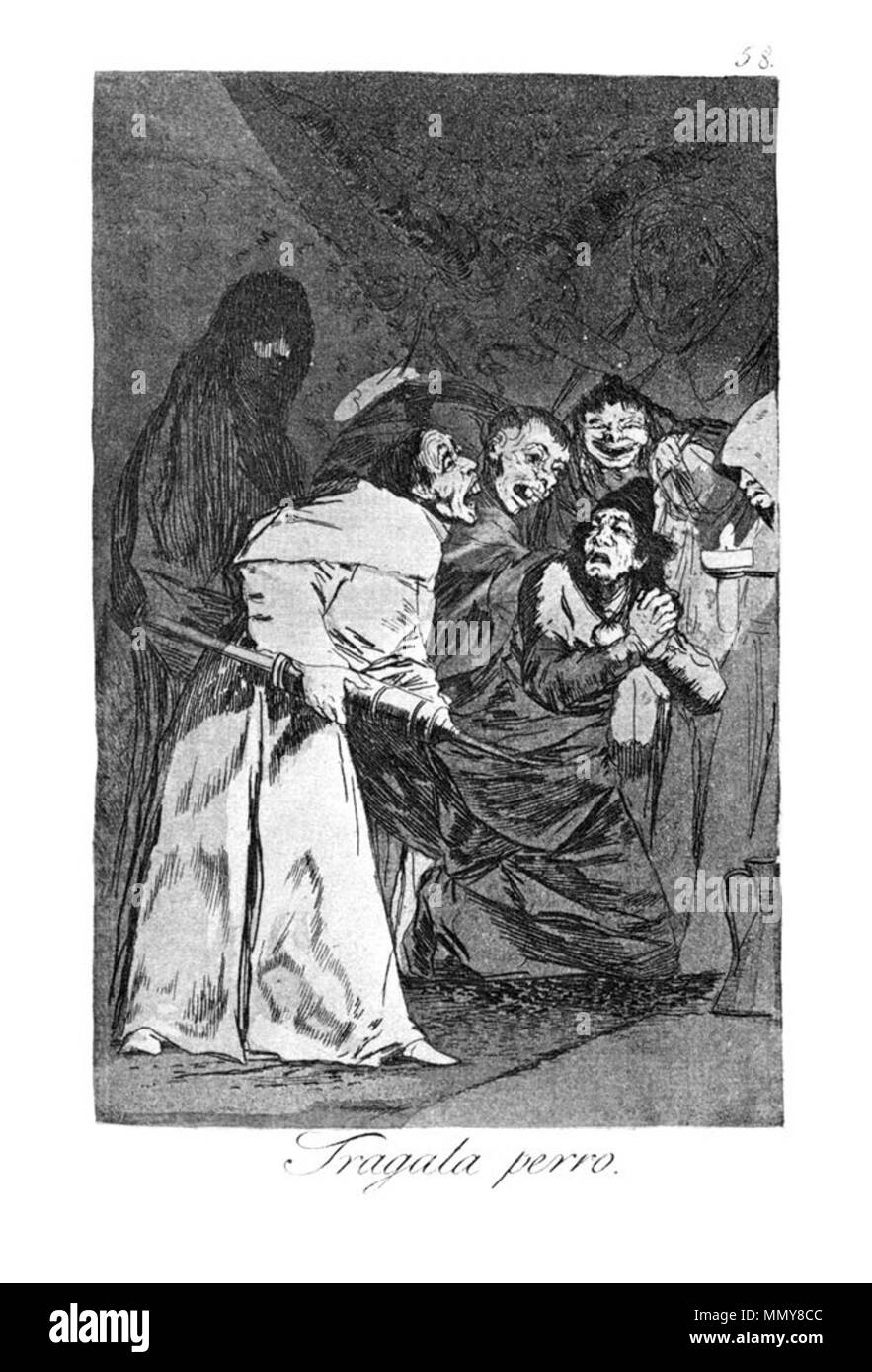. Los Caprichos is a set of 80 aquatint prints created by Francisco Goya for release in 1799.  . 1799.   Francisco Goya (1746–1828)   Alternative names Francisco Goya Lucientes, Francisco de Goya y Lucientes, Francisco José Goya Lucientes  Description Spanish painter, printmaker, lithographer, engraver and etcher  Date of birth/death 30 March 1746 16 April 1828  Location of birth/death Fuendetodos Bordeaux  Work location Madrid, Zaragoza, Bordeaux  Authority control  : Q5432 VIAF:?54343141 ISNI:?0000 0001 2280 1608 ULAN:?500118936 LCCN:?n79003363 NLA:?36545788 WorldCat Goya - Caprichos (58 - Stock Image