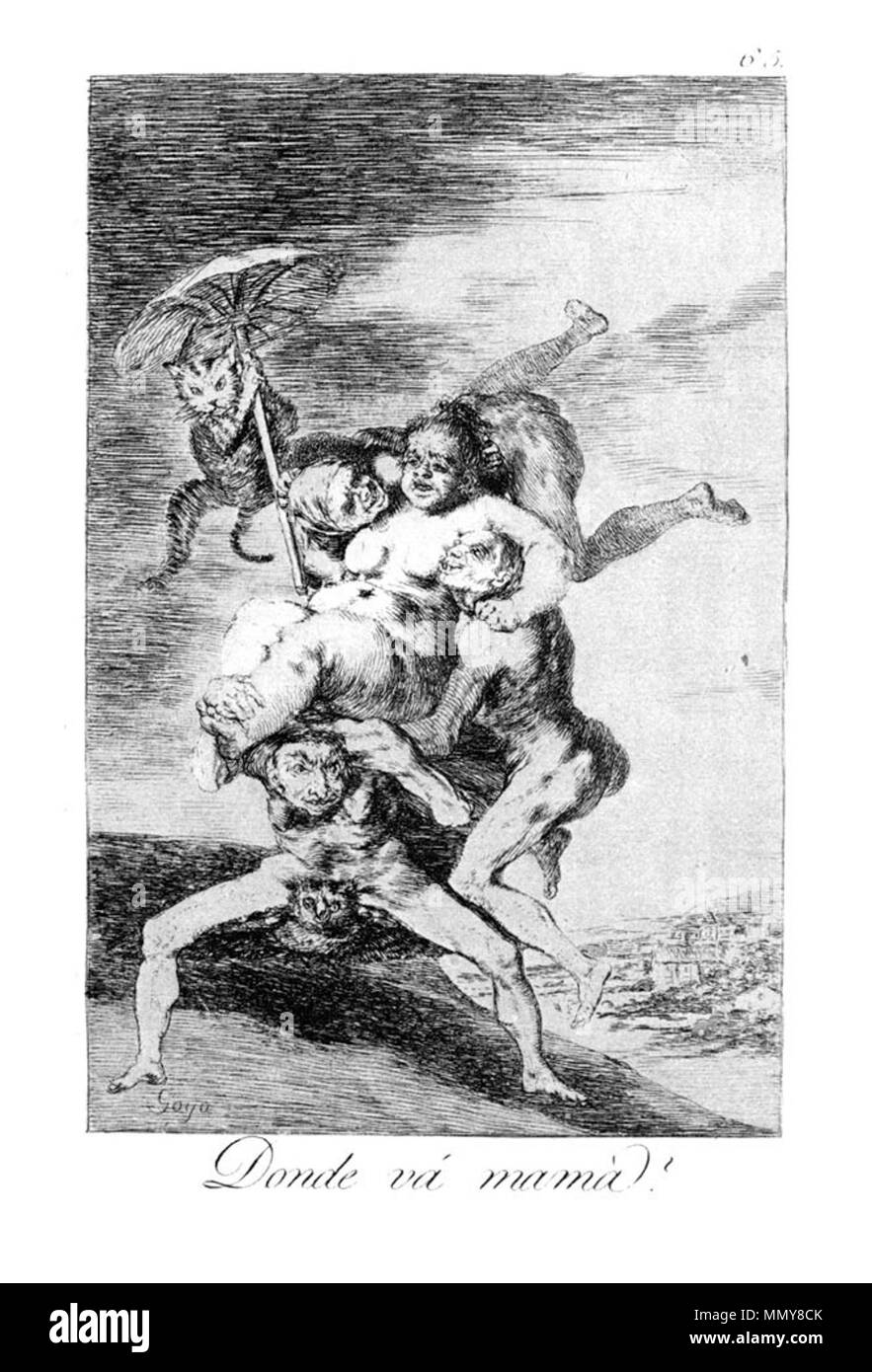 . Los Caprichos is a set of 80 aquatint prints created by Francisco Goya for release in 1799.  . 1799.   Francisco Goya (1746–1828)   Alternative names Francisco Goya Lucientes, Francisco de Goya y Lucientes, Francisco José Goya Lucientes  Description Spanish painter, printmaker, lithographer, engraver and etcher  Date of birth/death 30 March 1746 16 April 1828  Location of birth/death Fuendetodos Bordeaux  Work location Madrid, Zaragoza, Bordeaux  Authority control  : Q5432 VIAF:?54343141 ISNI:?0000 0001 2280 1608 ULAN:?500118936 LCCN:?n79003363 NLA:?36545788 WorldCat Goya - Caprichos (65 - Stock Image