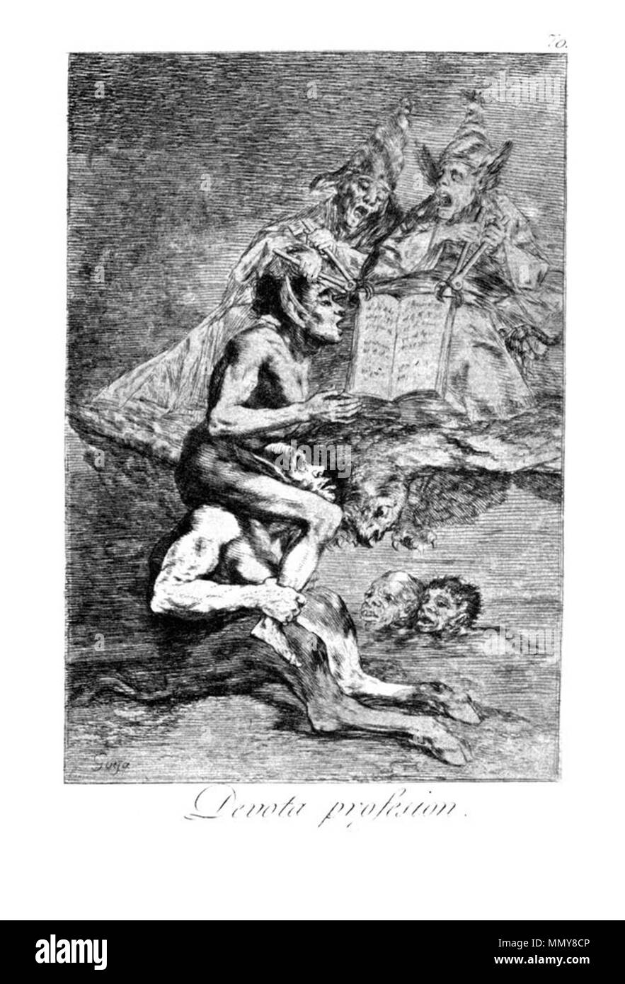 . Los Caprichos is a set of 80 aquatint prints created by Francisco Goya for release in 1799.  . 1799.   Francisco Goya (1746–1828)   Alternative names Francisco Goya Lucientes, Francisco de Goya y Lucientes, Francisco José Goya Lucientes  Description Spanish painter, printmaker, lithographer, engraver and etcher  Date of birth/death 30 March 1746 16 April 1828  Location of birth/death Fuendetodos Bordeaux  Work location Madrid, Zaragoza, Bordeaux  Authority control  : Q5432 VIAF:?54343141 ISNI:?0000 0001 2280 1608 ULAN:?500118936 LCCN:?n79003363 NLA:?36545788 WorldCat Goya - Caprichos (70 - Stock Image