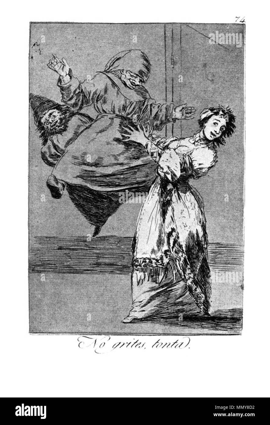 . Los Caprichos is a set of 80 aquatint prints created by Francisco Goya for release in 1799.  . 1799.   Francisco Goya (1746–1828)   Alternative names Francisco Goya Lucientes, Francisco de Goya y Lucientes, Francisco José Goya Lucientes  Description Spanish painter, printmaker, lithographer, engraver and etcher  Date of birth/death 30 March 1746 16 April 1828  Location of birth/death Fuendetodos Bordeaux  Work location Madrid, Zaragoza, Bordeaux  Authority control  : Q5432 VIAF:?54343141 ISNI:?0000 0001 2280 1608 ULAN:?500118936 LCCN:?n79003363 NLA:?36545788 WorldCat Goya - Caprichos (74 - Stock Image