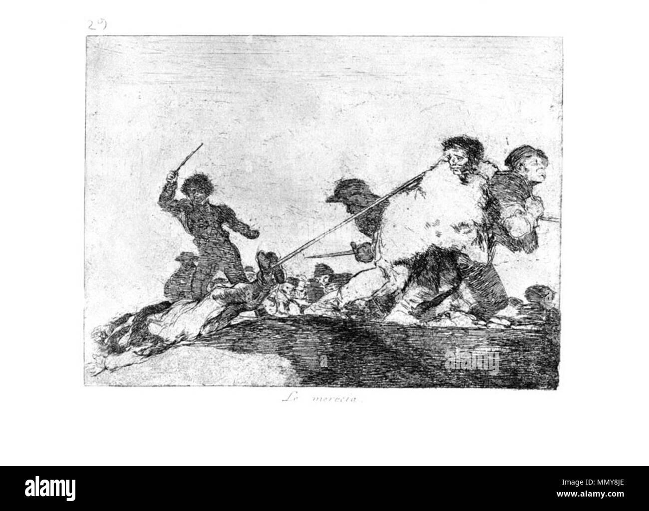 . Los Desatres de la Guerra is a set of 80 aquatint prints created by Francisco Goya in the 1810s. Plate 29: Lo merecia. (He deserved it. )  . 1810s.   Francisco Goya (1746–1828)   Alternative names Francisco Goya Lucientes, Francisco de Goya y Lucientes, Francisco José Goya Lucientes  Description Spanish painter, printmaker, lithographer, engraver and etcher  Date of birth/death 30 March 1746 16 April 1828  Location of birth/death Fuendetodos Bordeaux  Work location Madrid, Zaragoza, Bordeaux  Authority control  : Q5432 VIAF:?54343141 ISNI:?0000 0001 2280 1608 ULAN:?500118936 LCCN:?n79003 - Stock Image