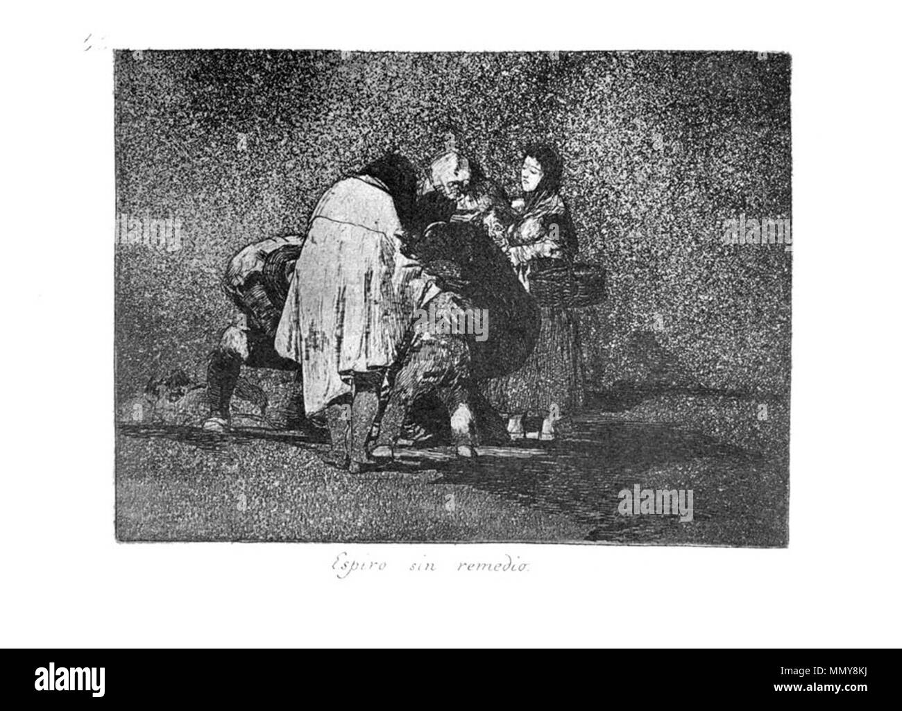 . Los Desatres de la Guerra is a set of 80 aquatint prints created by Francisco Goya in the 1810s. Plate 53: Espiró sin remedio. (There was nothing to be done and he died. )  . 1810s.   Francisco Goya (1746–1828)   Alternative names Francisco Goya Lucientes, Francisco de Goya y Lucientes, Francisco José Goya Lucientes  Description Spanish painter, printmaker, lithographer, engraver and etcher  Date of birth/death 30 March 1746 16 April 1828  Location of birth/death Fuendetodos Bordeaux  Work location Madrid, Zaragoza, Bordeaux  Authority control  : Q5432 VIAF:?54343141 ISNI:?0000 0001 2280 - Stock Image