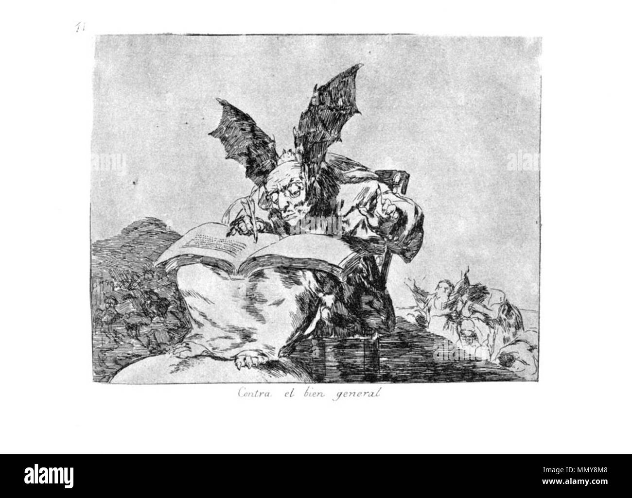 .  Plate 71: Contra el bien general (Against the common good)  . 1810s.   Francisco Goya (1746–1828)   Alternative names Francisco Goya Lucientes, Francisco de Goya y Lucientes, Francisco José Goya Lucientes  Description Spanish painter, printmaker, lithographer, engraver and etcher  Date of birth/death 30 March 1746 16 April 1828  Location of birth/death Fuendetodos Bordeaux  Work location Madrid, Zaragoza, Bordeaux  Authority control  : Q5432 VIAF:?54343141 ISNI:?0000 0001 2280 1608 ULAN:?500118936 LCCN:?n79003363 NLA:?36545788 WorldCat Goya-Guerra (71) - Stock Image