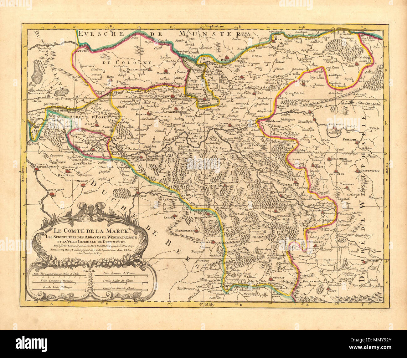 Map Of France 1600.English Map Of Grafschaft Mark Germany 1681 By Nicolas Sanson