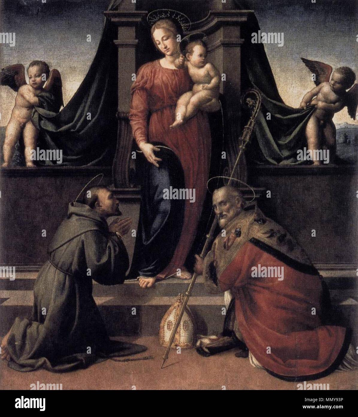English: Virgin and Child with Sts Francis and Zenobius . circa 1515. Francesco granacci, madonna col Bambino e santi - Stock Image