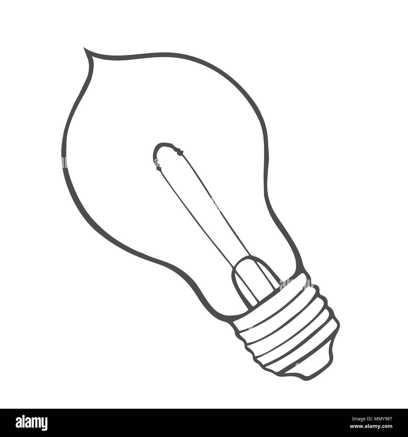 Hand drawn Sketch of glowing light bulb  Creative idea