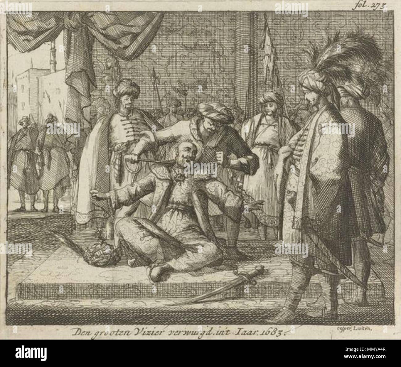 Nederlands: Grootvizier Kara Mustafa met een zijden koord gewurgd, 1683 . 2  January .
