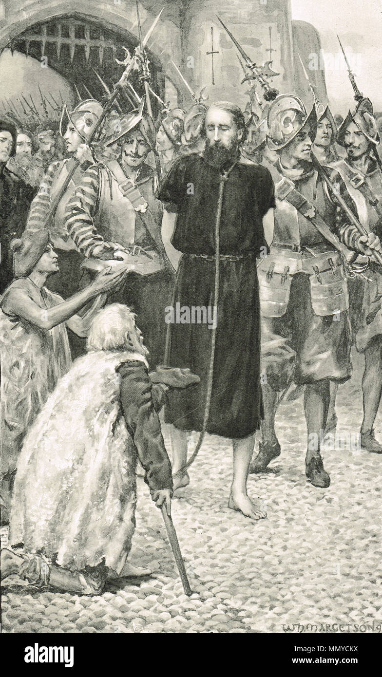 George Wishart, Protestant martyr, being led to his execution, St Andrews, Fife, Scotland, 1 March 1546 - Stock Image