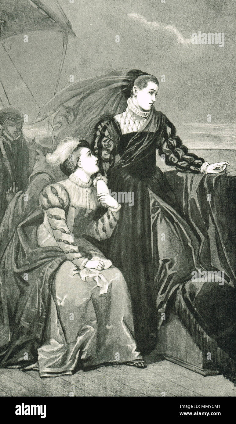 Mary Queen of Scots, leaving France in 1561 (also known as Mary Stuart or Mary I). - Stock Image