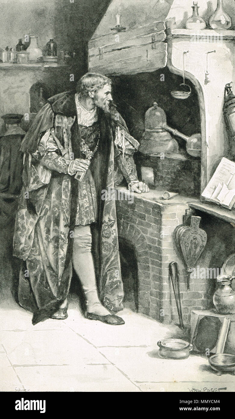 James IV, King of Scotland, in his Alchemy laboratory at Stirling Castle, Scotland, searching for the Grand Magisterium of the Philosopher's Stone. - Stock Image