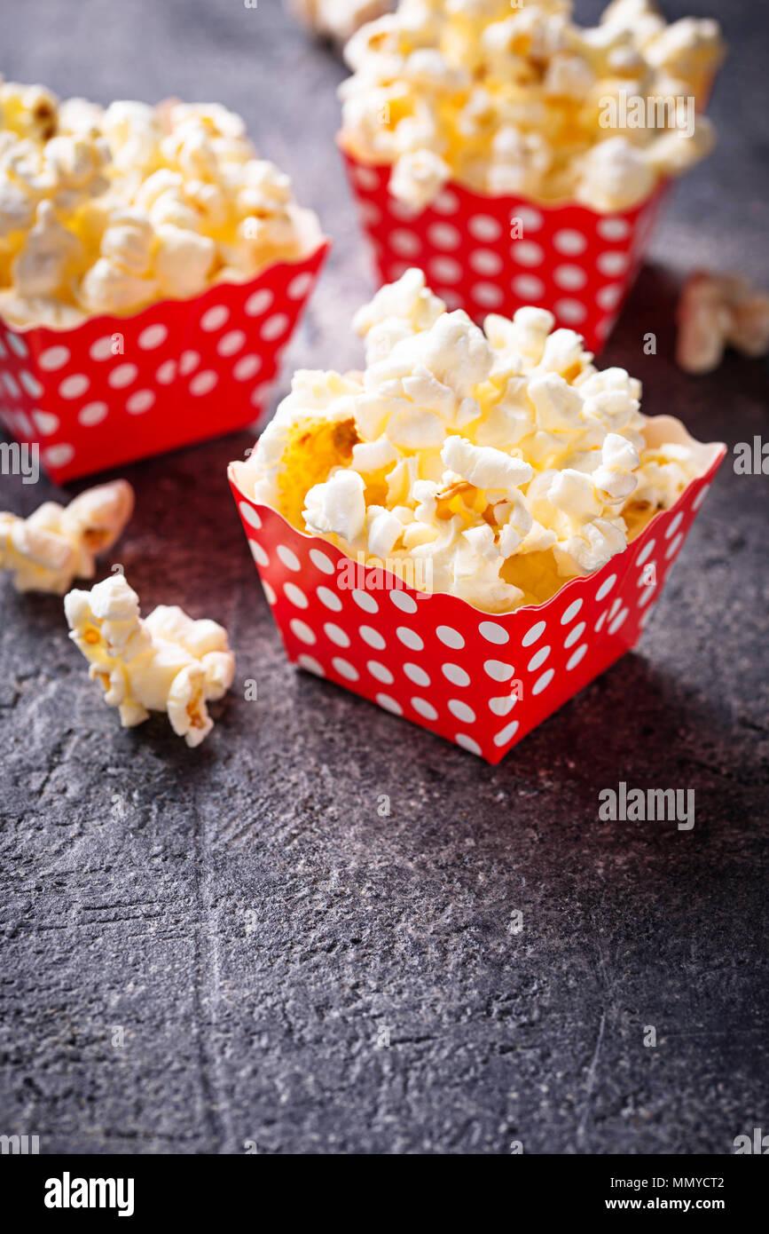 Popcorn in red polka dot pack  - Stock Image