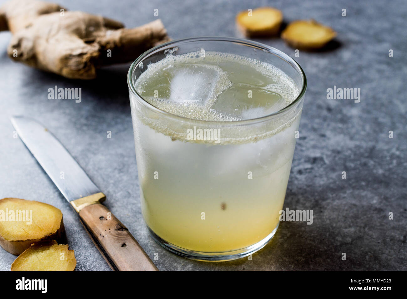 Organic Ginger Ale Soda (Tonic) in Glass Ready to Drink. Beverage Concept. - Stock Image