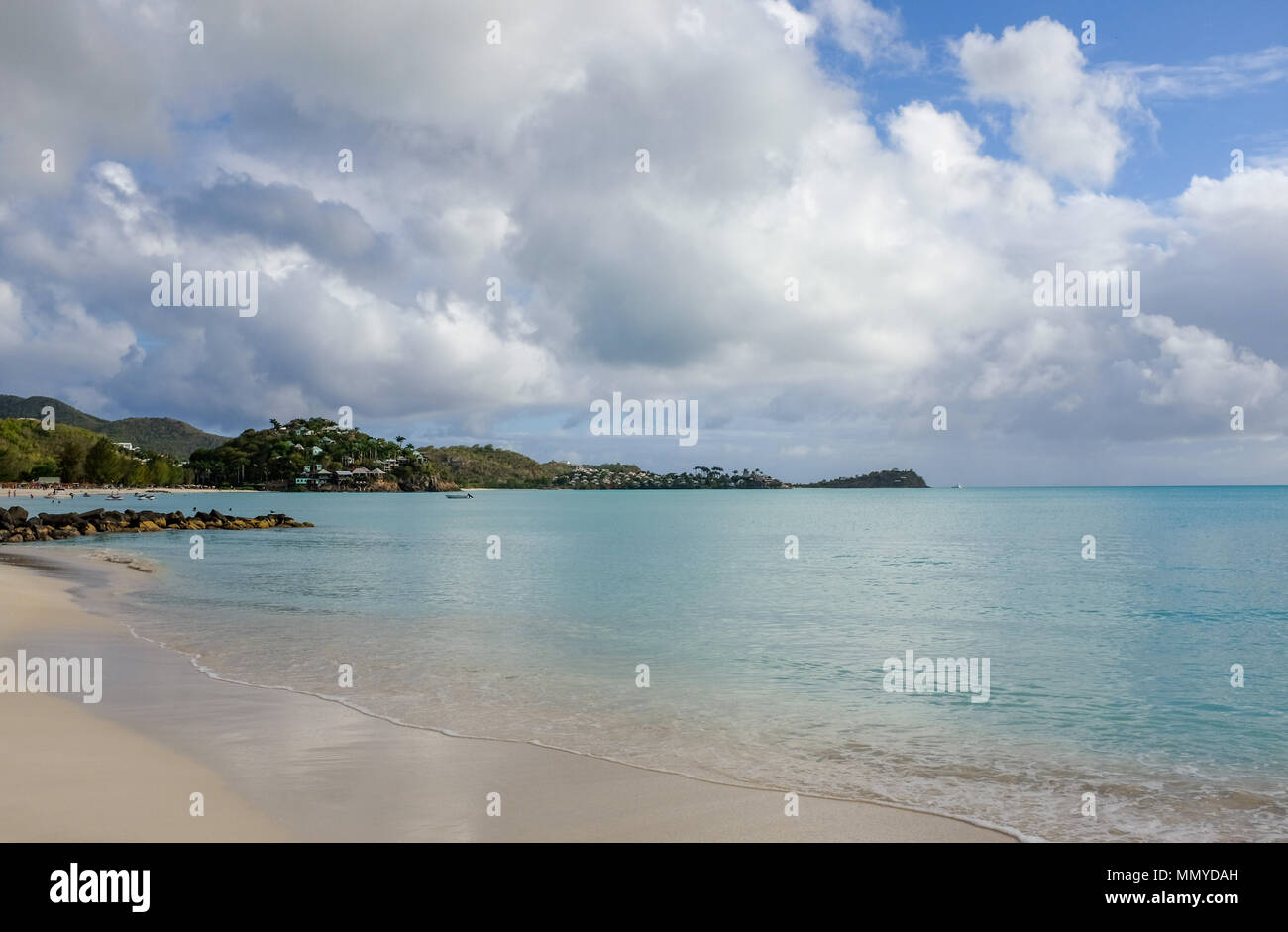 Antigua Lesser Antilles islands in the Caribbean West Indies - Beautiful Jolly Harbour sandy beach  Photograph taken by Simon Dack - Stock Image