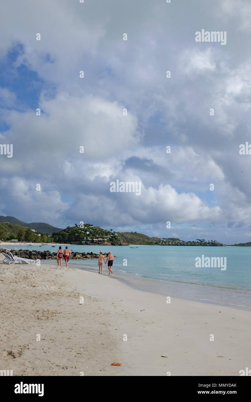 Antigua Lesser Antilles islands in the Caribbean West Indies - Beautiful Jolly Harbour sandy beach - Stock Image