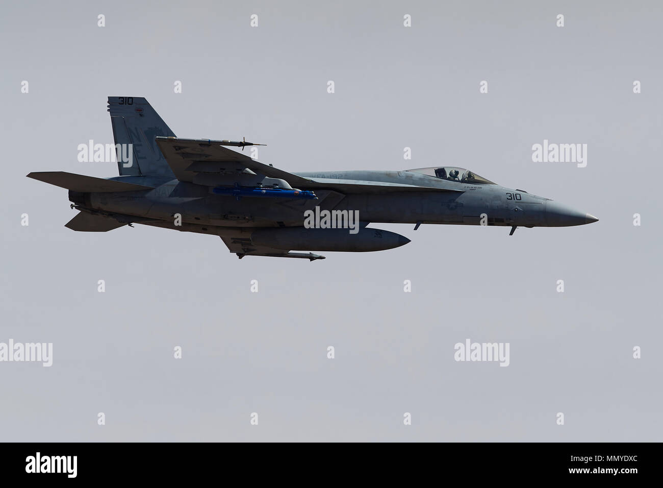 US Navy F/A-18E Super Hornet Jet Fighter Flying Over Rainbow Canyon California, USA. Stock Photo