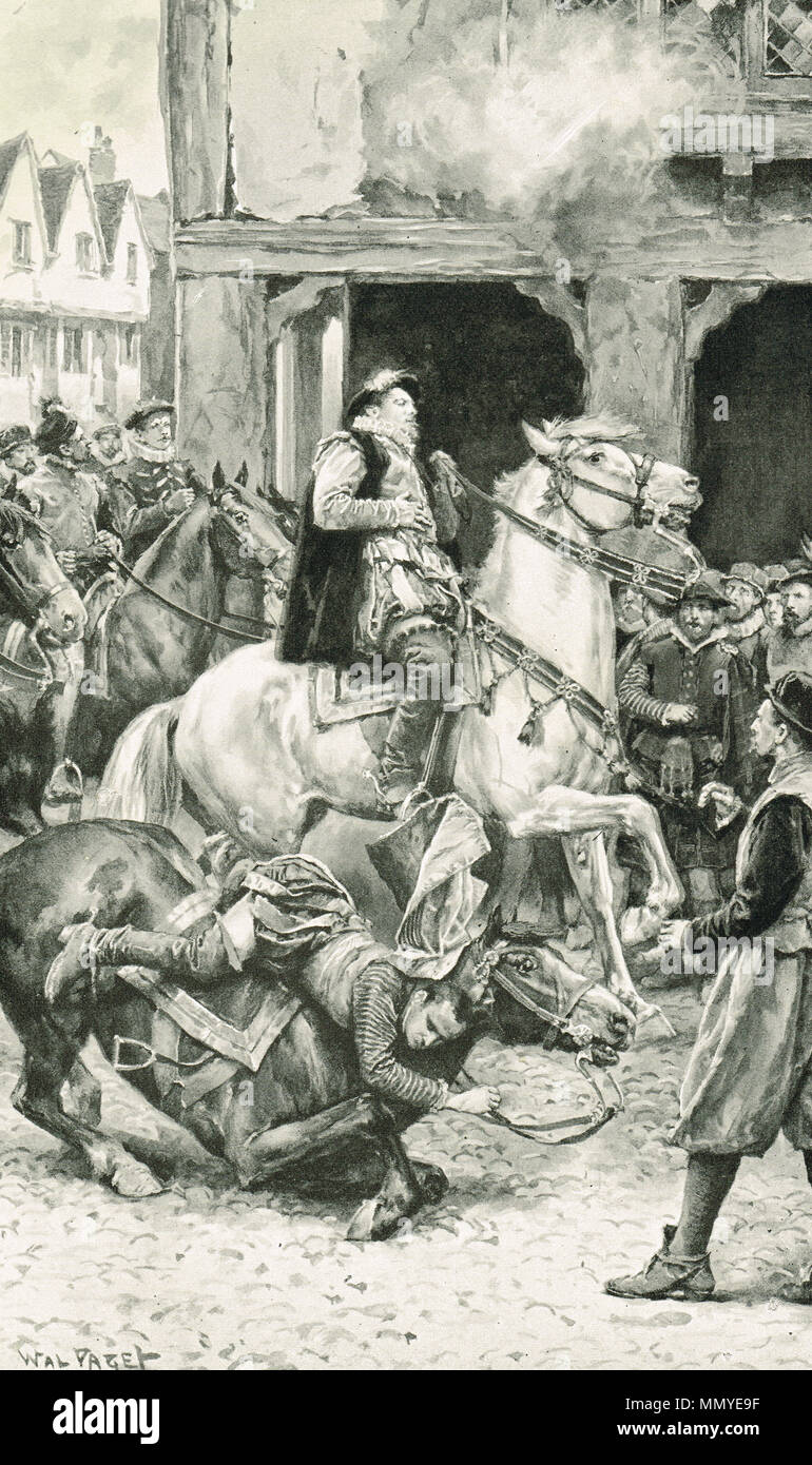 The assassination of James Stewart, 1st Earl of Moray, and Regent of Scotland at Linlithgow, Scotland, 23 January 1570. Assassinated by James Hamilton of Bothwellhaugh, a supporter of Mary Queen of Scots - Stock Image