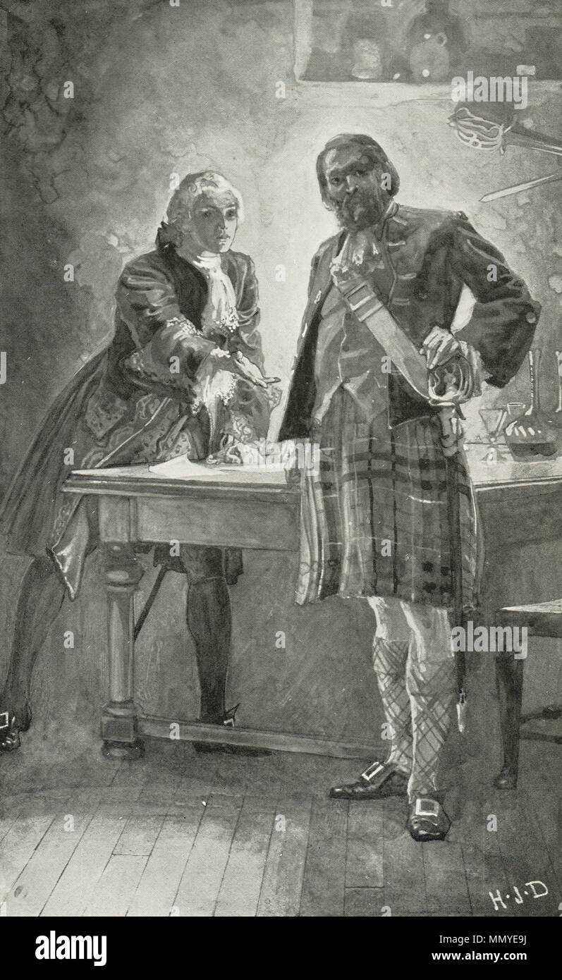 Bonny Prince Charlie appealing to Donald Cameron of Lochiel, asking him to join his cause.  The Jacobite rising of 1745 - Stock Image