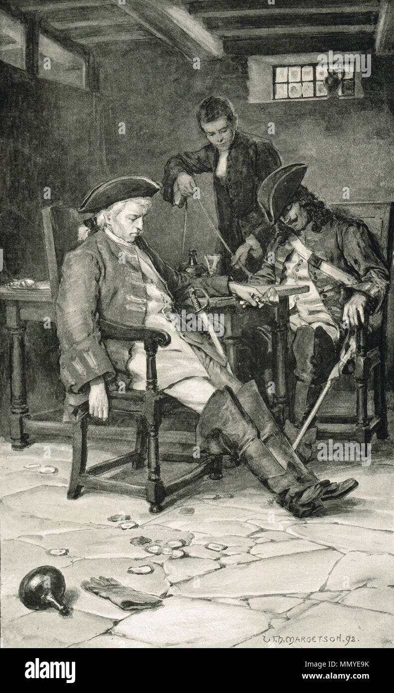 Drunken English army scouts, taken prisoner in a tavern, before the battle of Prestonpans, 1745, captured by a young clerk Stock Photo