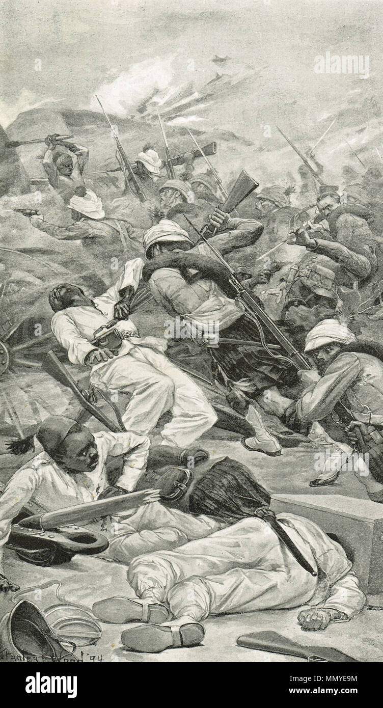 Highlanders storming a redoubt, Battle of Tel-El-Kebir, 13 September 1882 - Stock Image