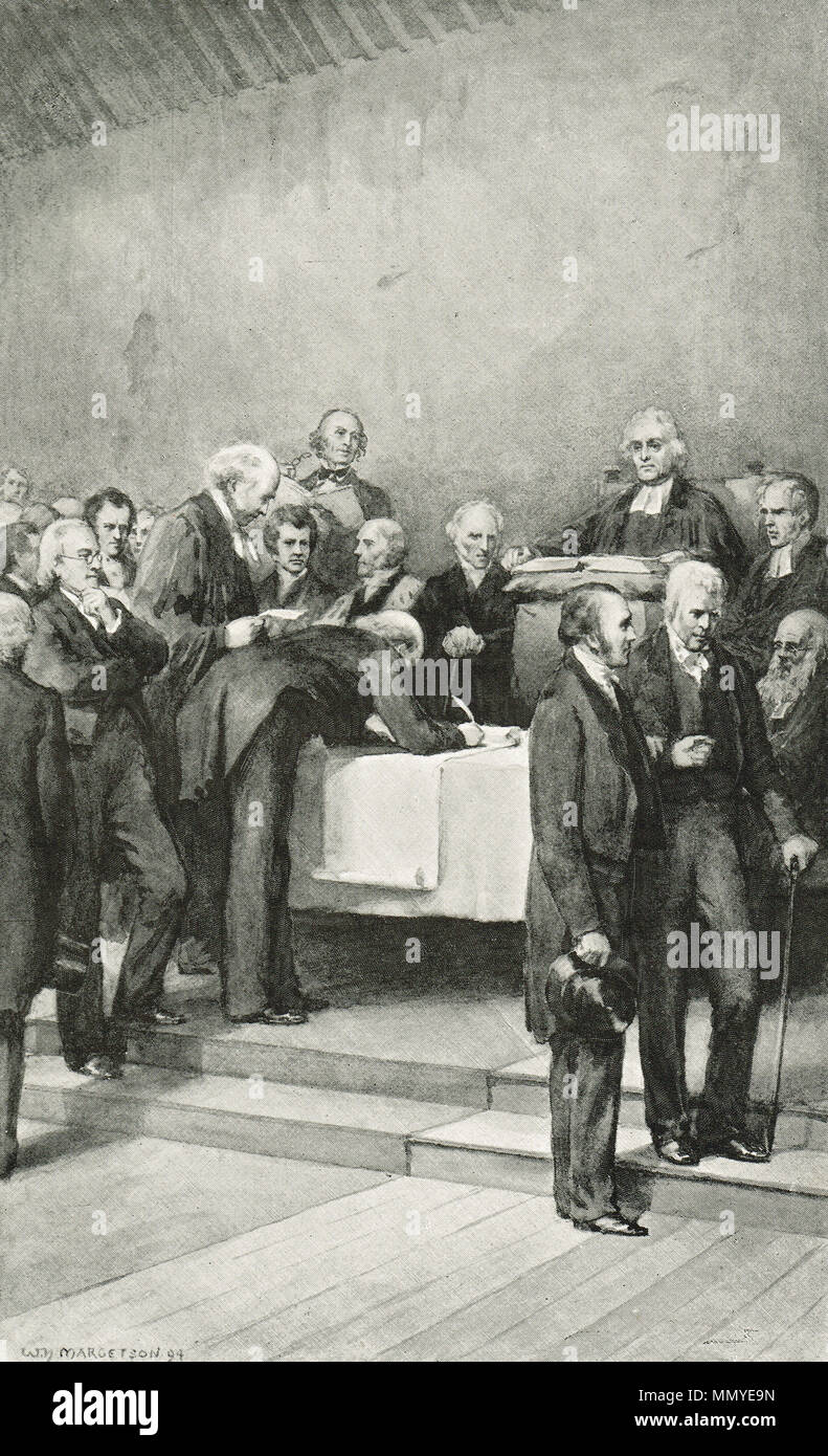 The signing of the deed of demission, Tanfield Hall at Canonmills, On 18 May 1843, known as the Disruption of 1843 or the disruption assembly. A schism within the established Church of Scotland leading to the formation of the Free Church of Scotland. - Stock Image