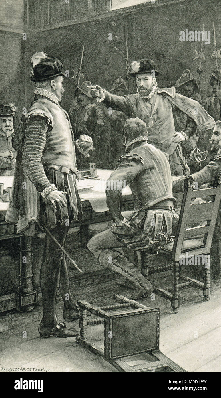 James Stewart, 1st Earl of Moray and Regent of Scotland, ordering the arrest of his enemies the Earl of Cassilis, Lord Herries, and the Duke of Chatellerault, partisans of Mary Queen of Scots who had been forced to abdicate in favour of James VI, for refusing to accept the authority of the young King at the Edinburgh convention, 1569 Stock Photo