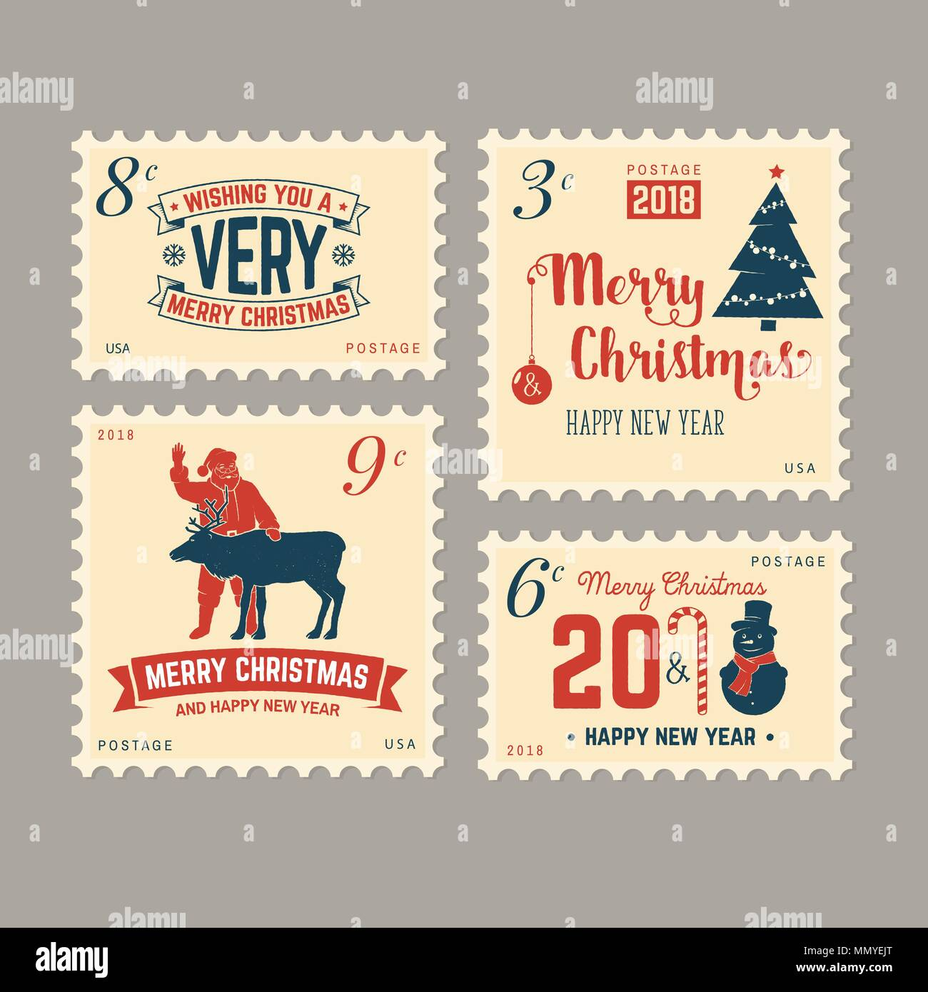 Merry Christmas And Happy New Year 2018 Retro Postage