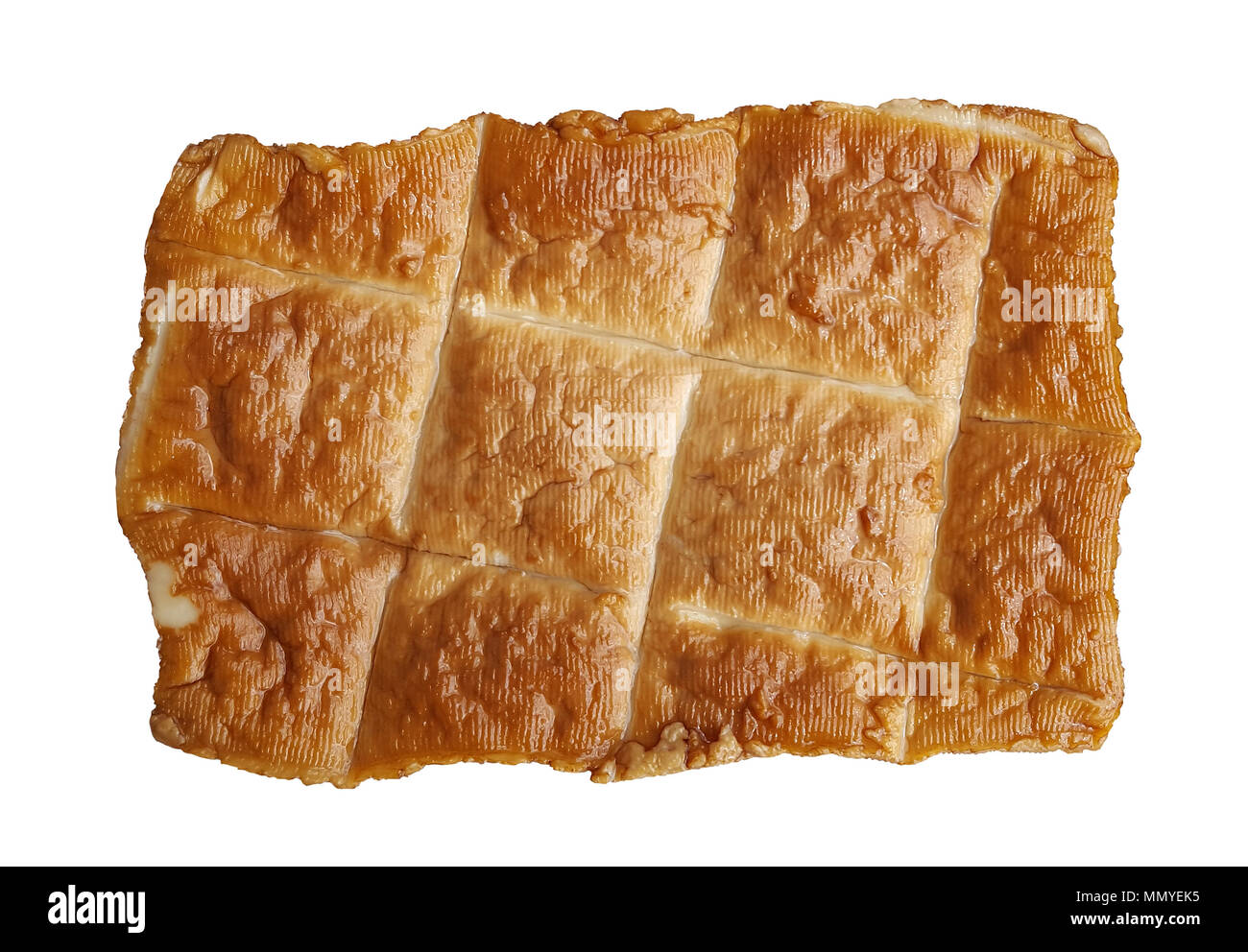 smoked tofu vegetarian cheese from soy isolated - Stock Image