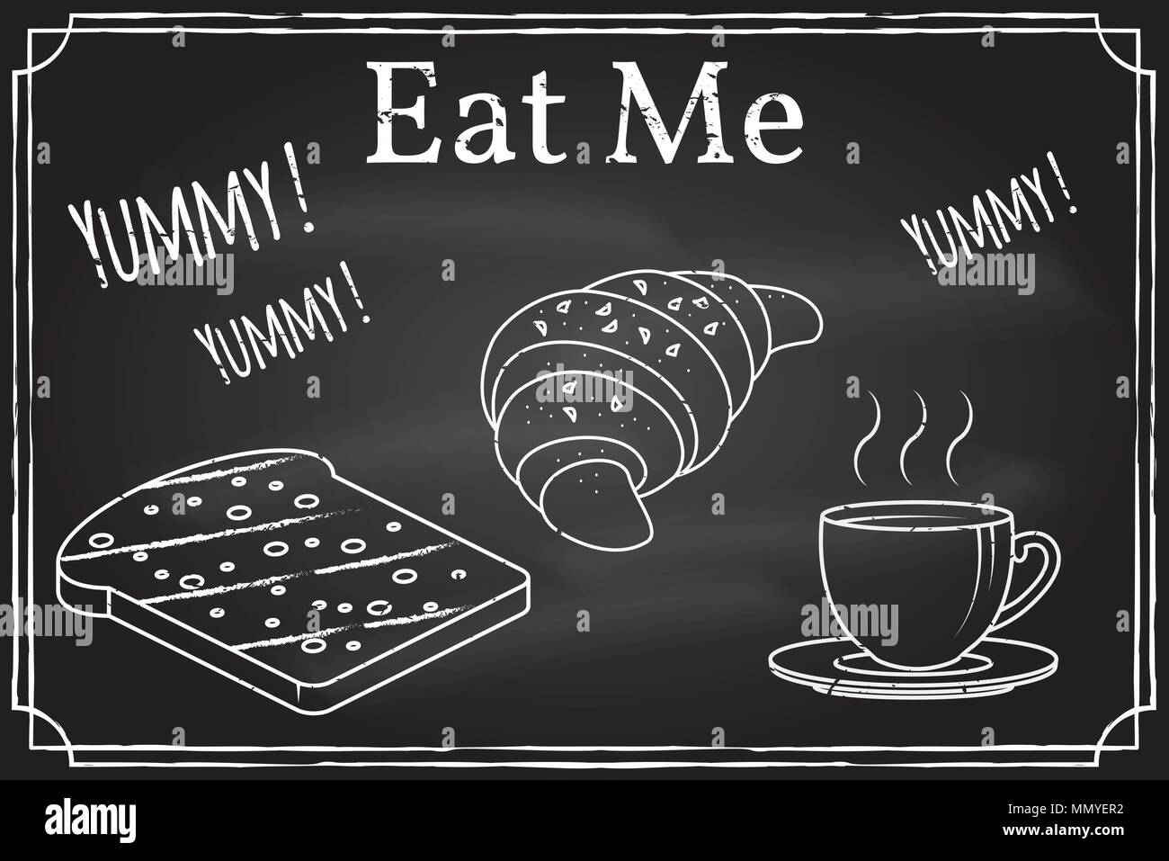 Coffee cup, toast and Croissant icon. Eat me. Elements on the theme of the restaurant business. Chalk drawing on a blackboard. Thin line icon -vector  - Stock Image