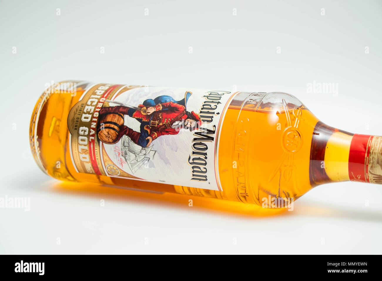 New Bottle of Captain Morgan Spiced Rum isolated on white Stock Photo