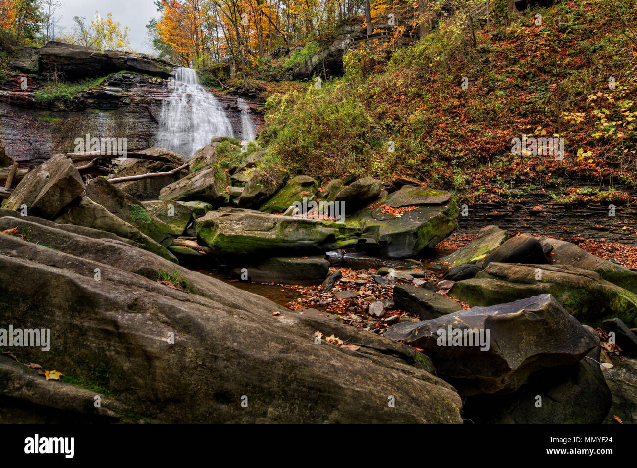 The majestic Brandywine Falls in Cuyahoga Valley National Park Ohio.  A beautiful 65-foot drop. Seen here from the stream bed in autumn. - Stock Image
