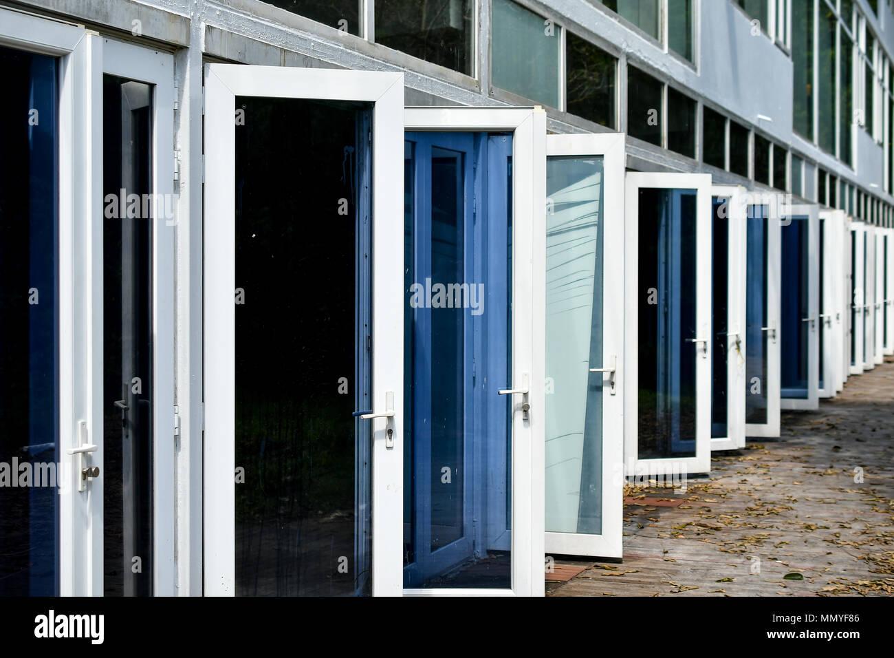 white open doors - Stock Image