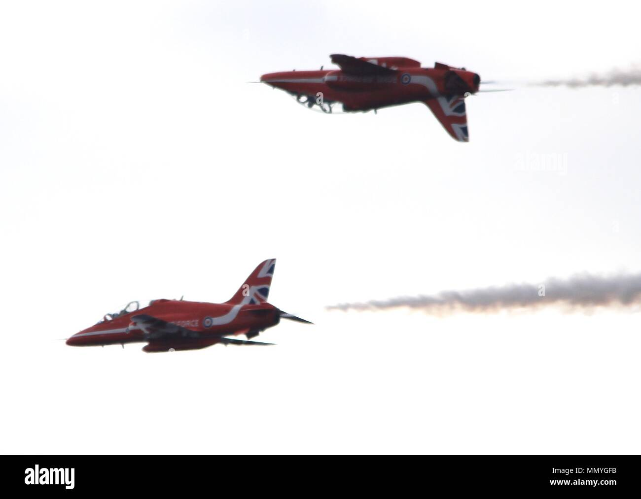 Rhyl, UK,Royal Air force display team The Red Arrows perform aerobatics at Rhyl Airshow, credit Ian Fairbrother/Alamy - Stock Image