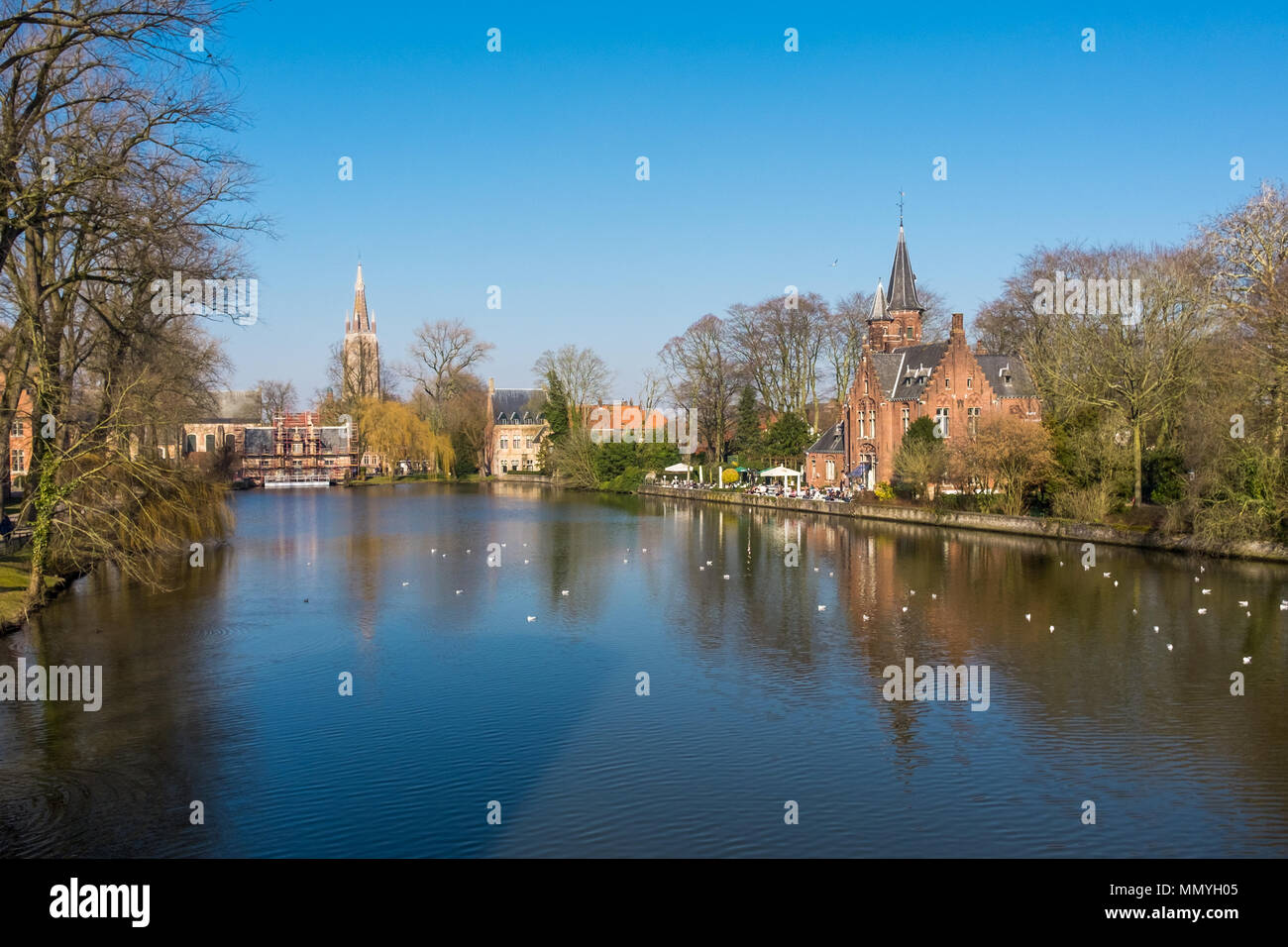 View on the so-called Lake of Love (Minnewater) in the center of Bruges Stock Photo