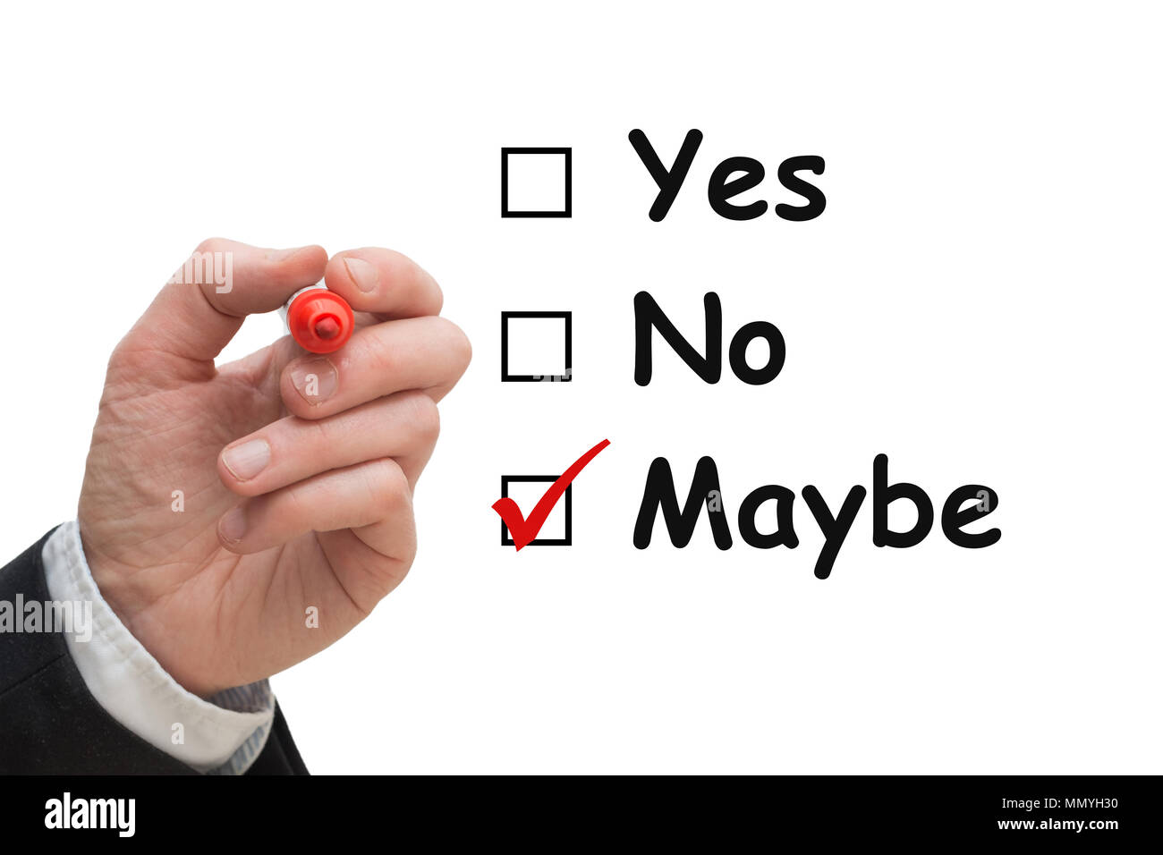 Male hand with pen ticking off the box Maybe in a yes/no multiple choice list. - Stock Image
