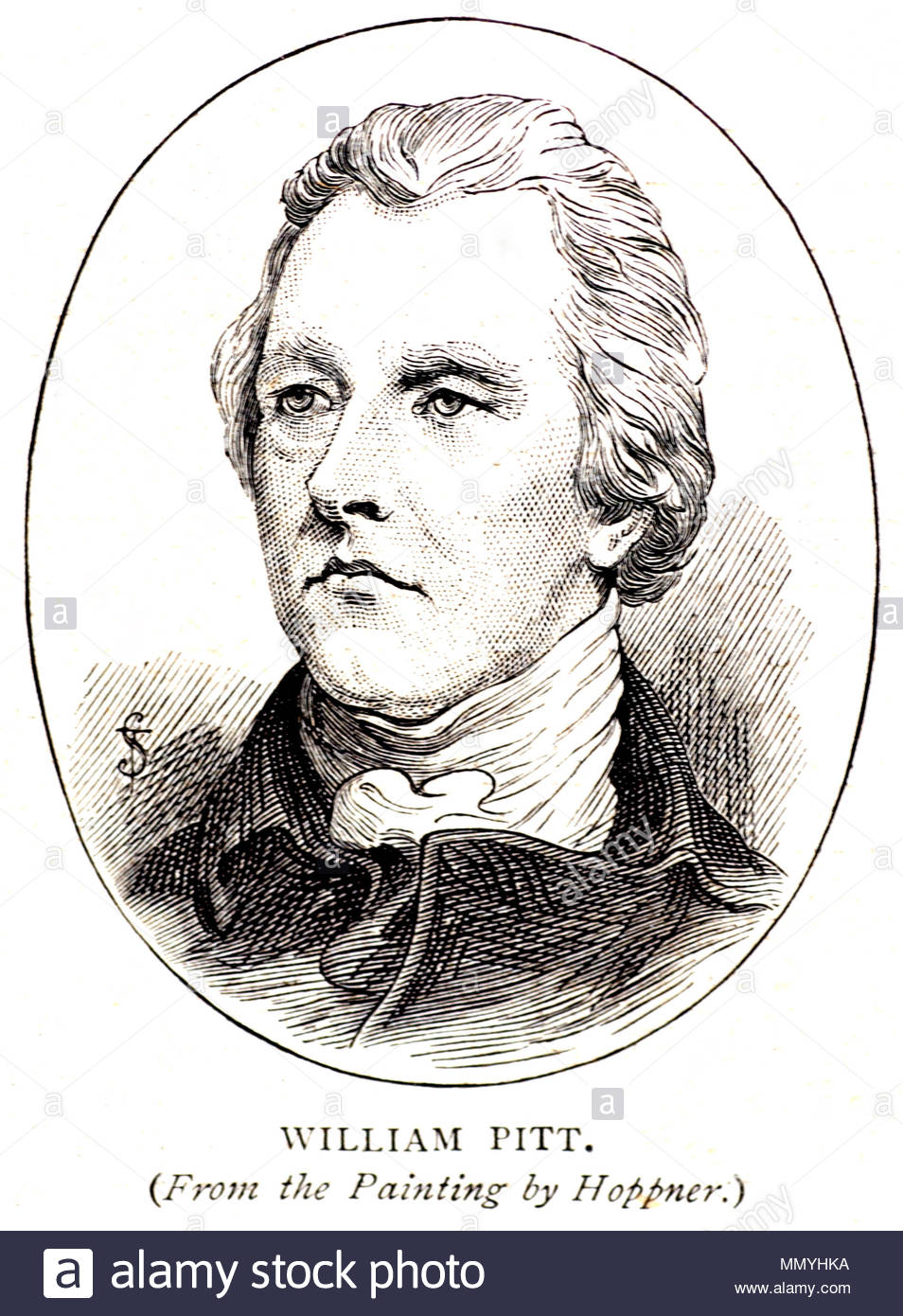 William Pitt the Younger 1759 – 1806, was a prominent British Tory statesman of the late 18th and early 19th centuries, he became the youngest British prime minister in 1783 at the age of 24, antique illustration from 1898 - Stock Image