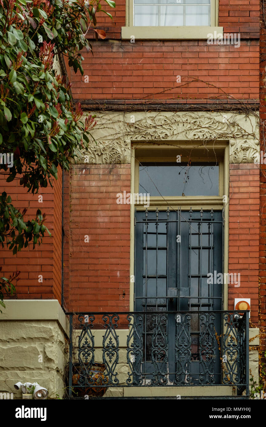 Balcony door on historic house, 2809 N Street NW, Georgetown, Washington DC Stock Photo