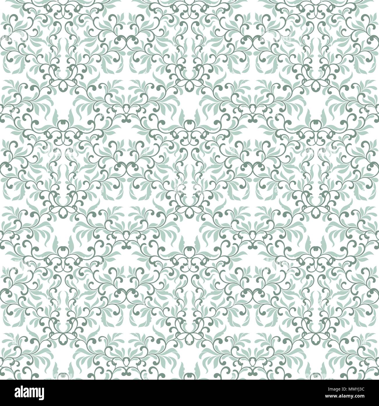 Gentle seamless pattern. Tracery of swirls and decorative leaves isolated on a white background. Vintage style. It can be used for printing on fabric, - Stock Vector