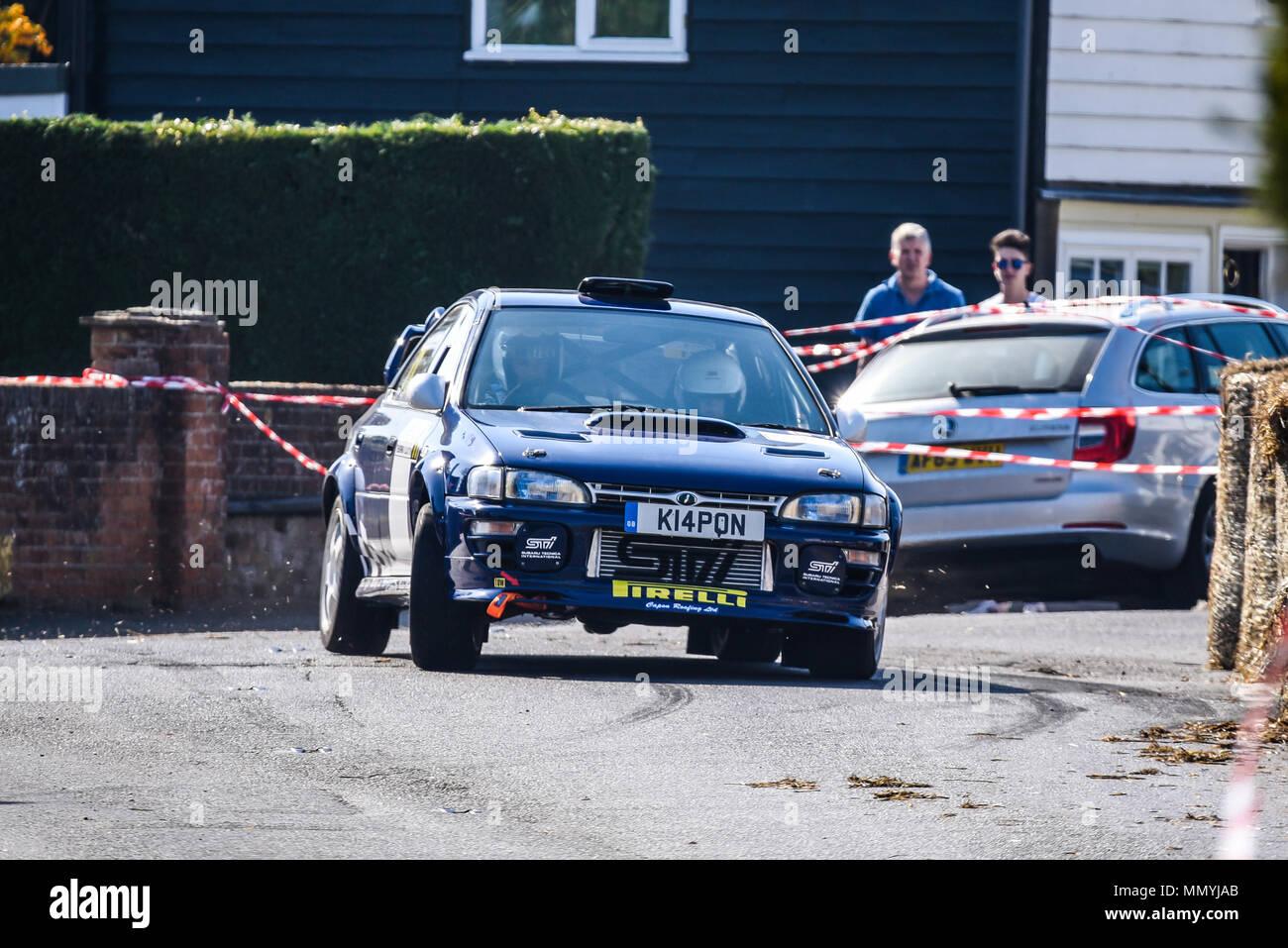 Tony Capon driver Teresa Butler co driver racing Subaru Impreza in the closed public road Corbeau Seats car Rally Tendring and Clacton, Essex, UK - Stock Image