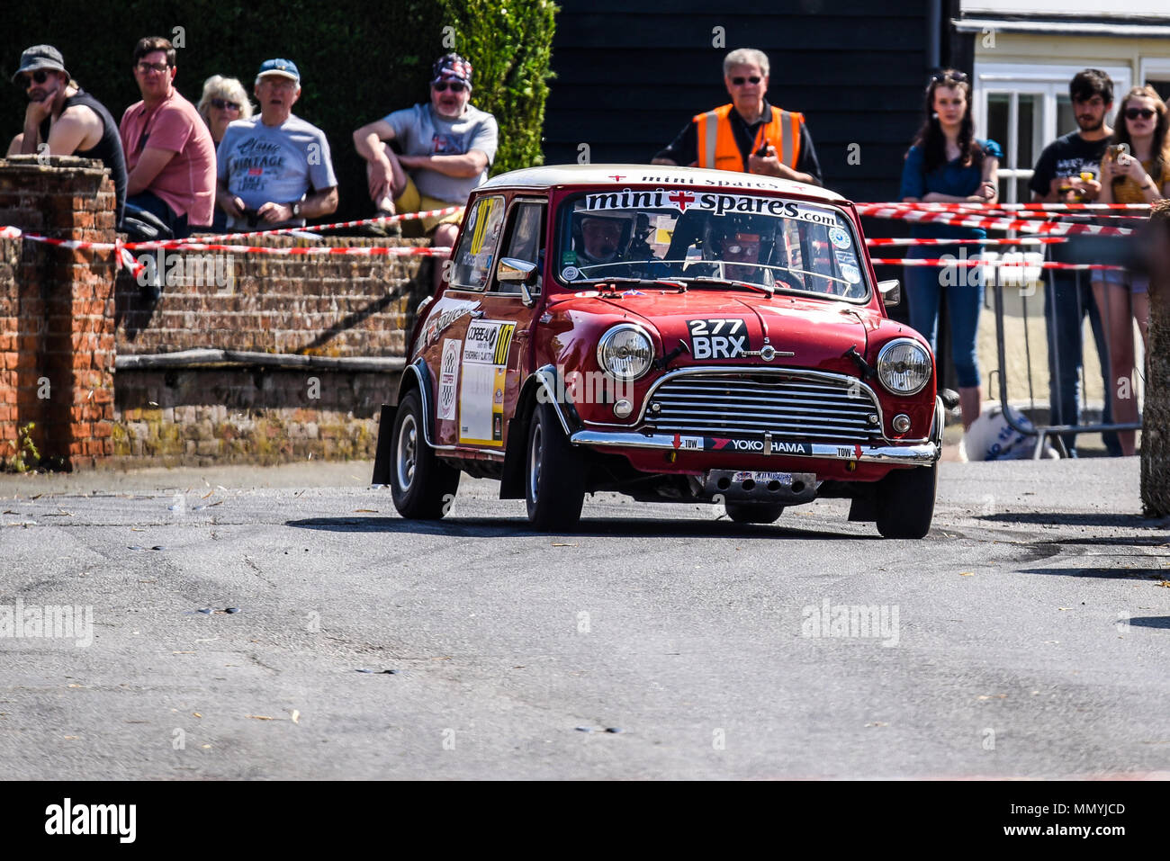 Peter Horsburgh driver Bob Ward co driver racing Morris Mini Cooper in the closed public road Corbeau Seats car Rally Tendring and Clacton, Essex, UK - Stock Image