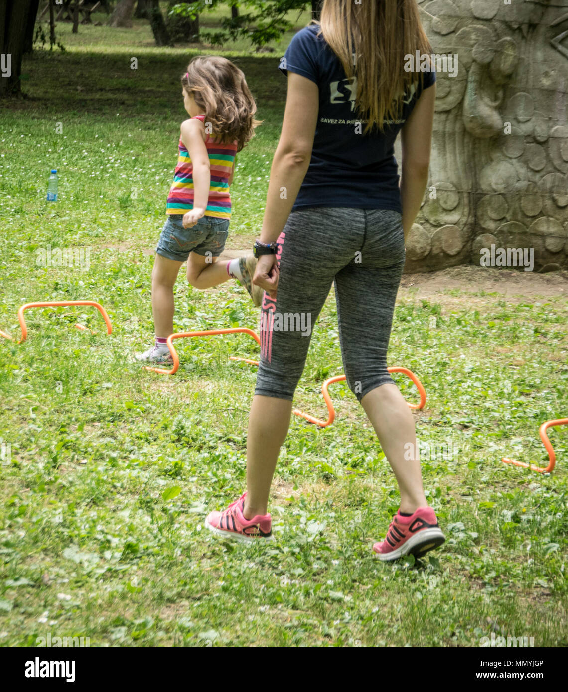 Belgrade, Serbia – May 5th 2018: Sports fair in Belgrade, a kid running over obstacles - Stock Image