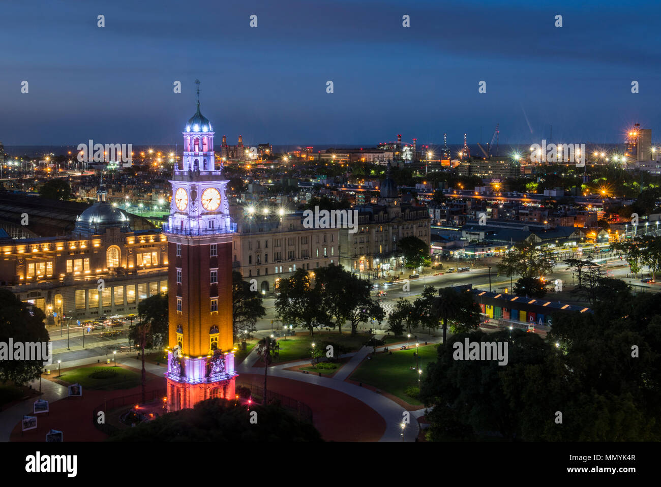 Argentina, Retiro, Buenos Aires, San Martin Square. Plaza Fuerza Aerea Argentina formerly Plaza Britanica. Night overview of Tower Monument aka Torre  - Stock Image
