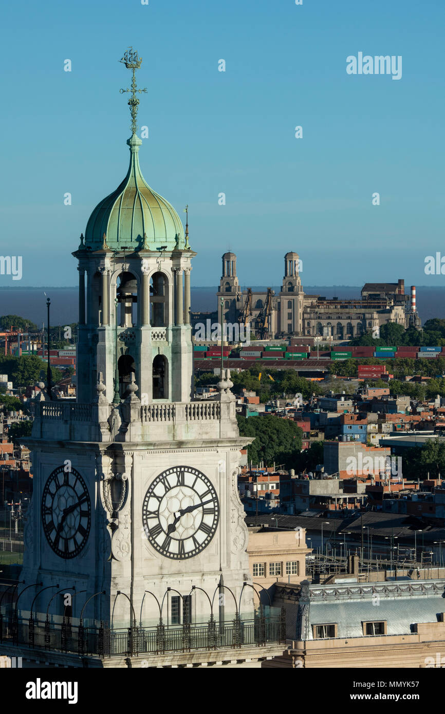 Argentina, Retiro, Buenos Aires, San Martin Square. Plaza Fuerza Aerea Argentina formerly Plaza Britanica. Overview of Tower Monument and Clock Tower  - Stock Image