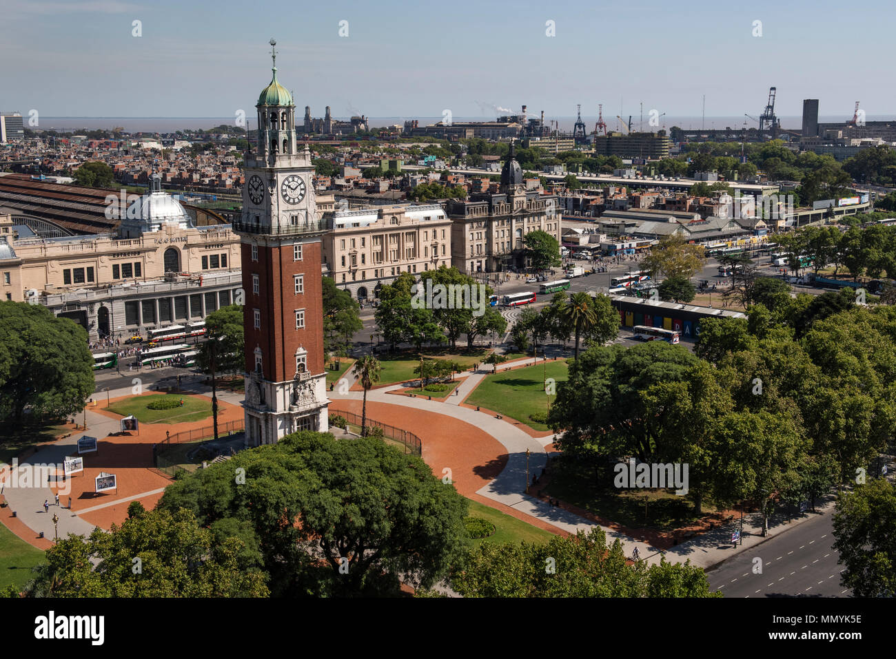Argentina, Retiro, Buenos Aires, San Martin Square. Plaza Fuerza Aerea Argentina formerly Plaza Britanica. Overview of Tower Monument aka Torre Monume - Stock Image