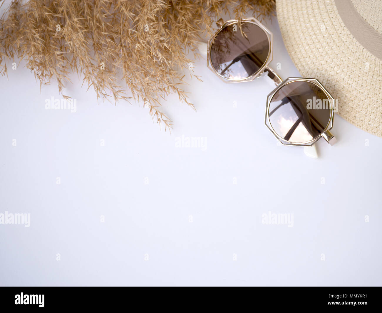 Sunglasses Straw Hat And Dry Grass Top View Izolated Copy Paste
