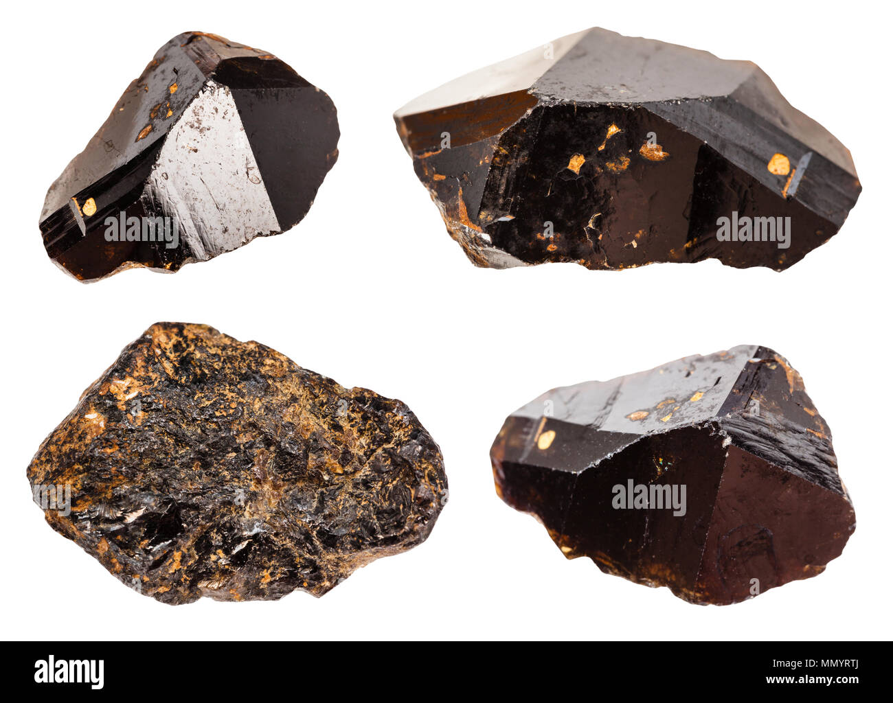 set of various Cassiterite (Tin ore) minerals isolated on white background - Stock Image