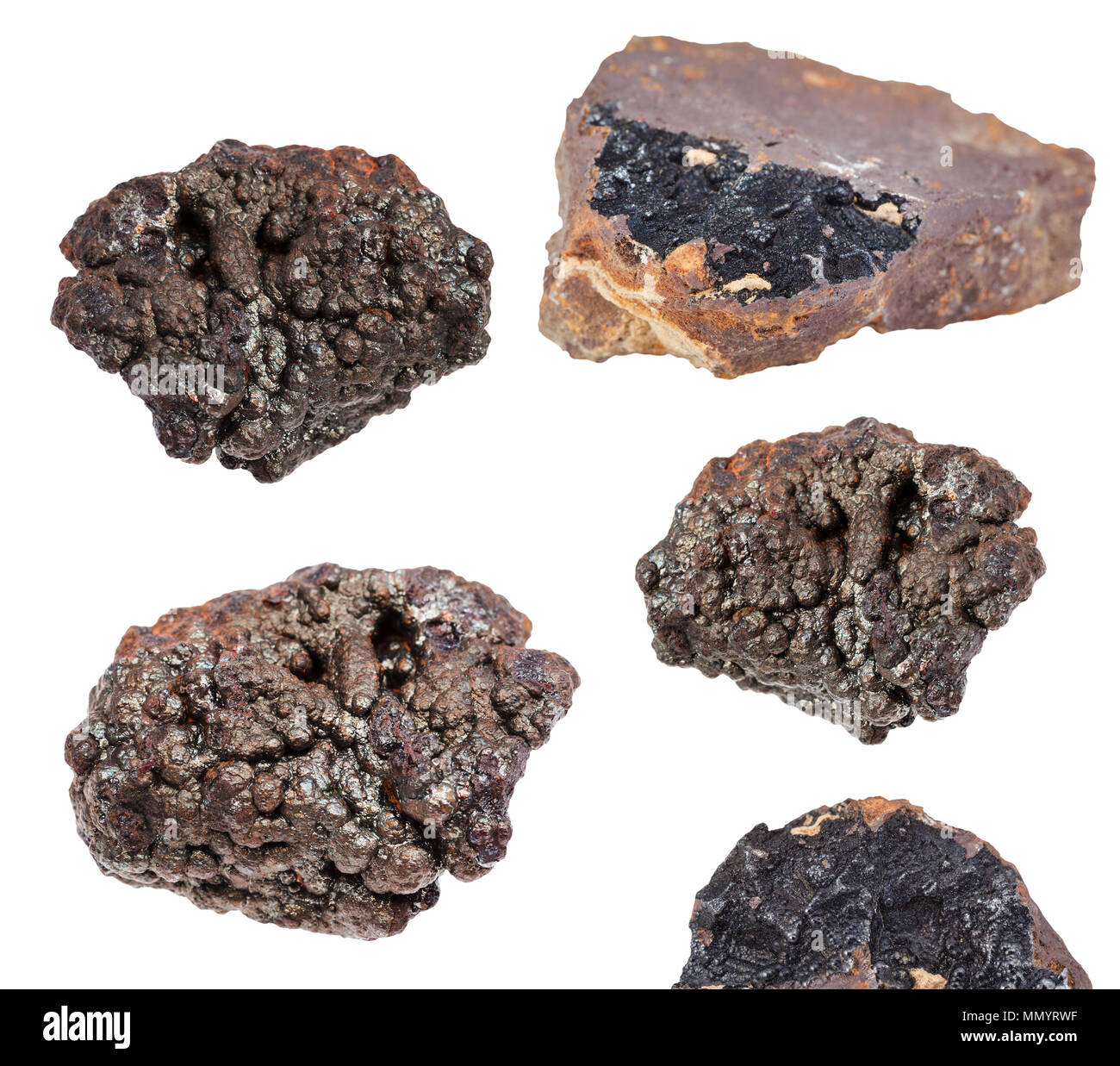 collection of various Goethite stones (brown iron ore) isolated on white background - Stock Image