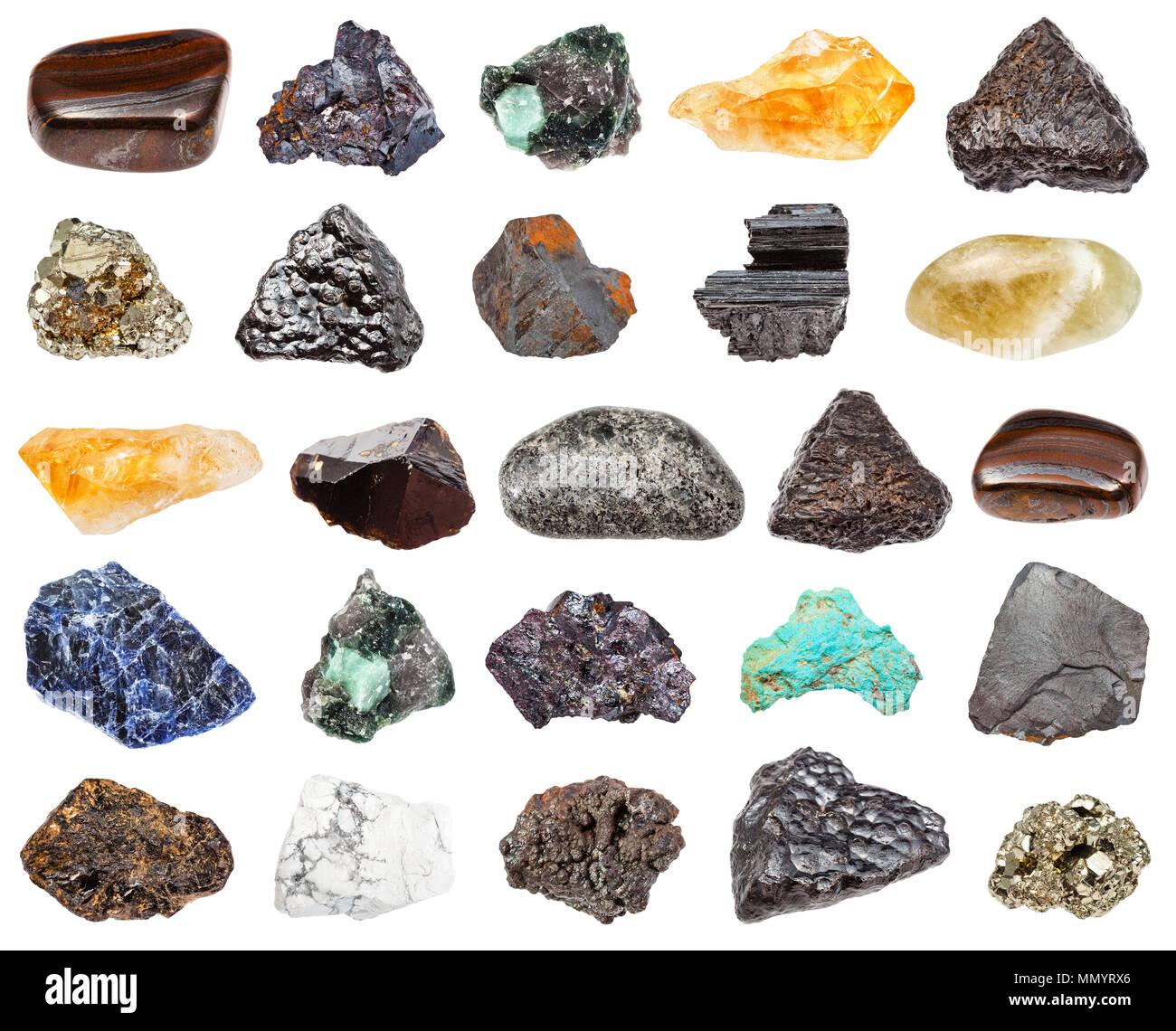 set of various minerals isolated on white background : cassiterite, peridotite, jaspillite, prasiolite, turquoise, cuprite, beryl, howlite, citrine, g - Stock Image