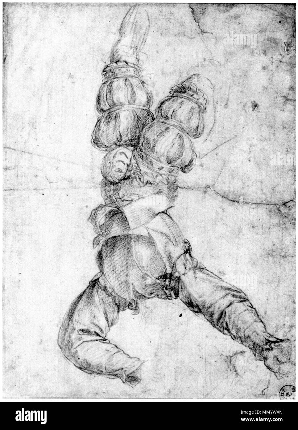 English: Drawing, in red chalk on white paper, of a man hanged by